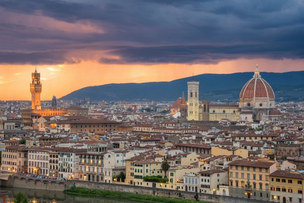 View over Florence at dusk
